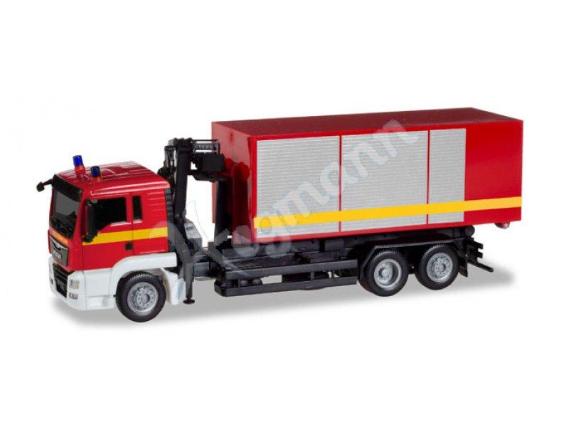 1//87 Herpa MAN TGS M Euro 5 Hakenlift-HZ m Stromaggregat u Container Feuerwehr