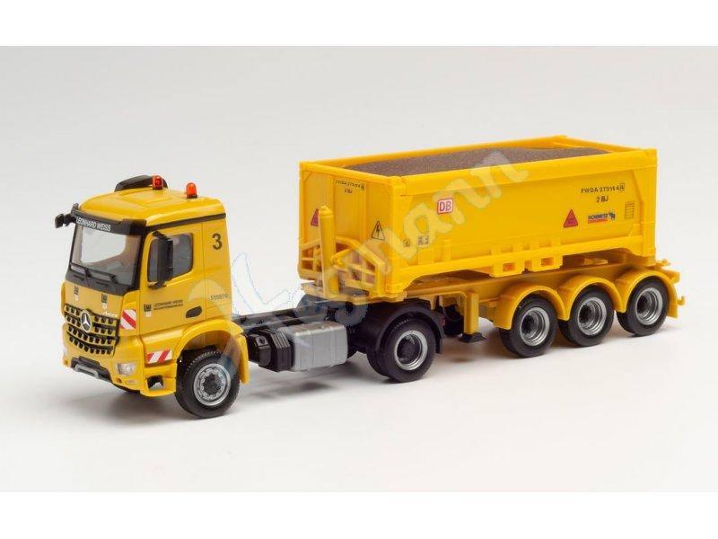 Herpa 084932 H0 LKW Fahrgestell Mercedes Atego 3-Seiten Kipper 2x